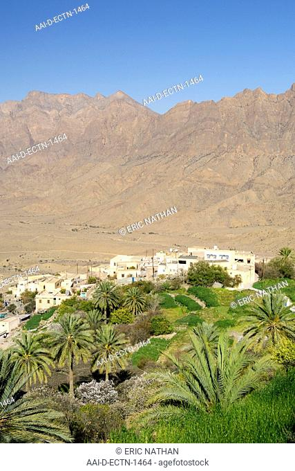 The village of Wekan and its plantations situated high in the Ghubrah bowl region of the Jebel Akhdar mountains in Oman