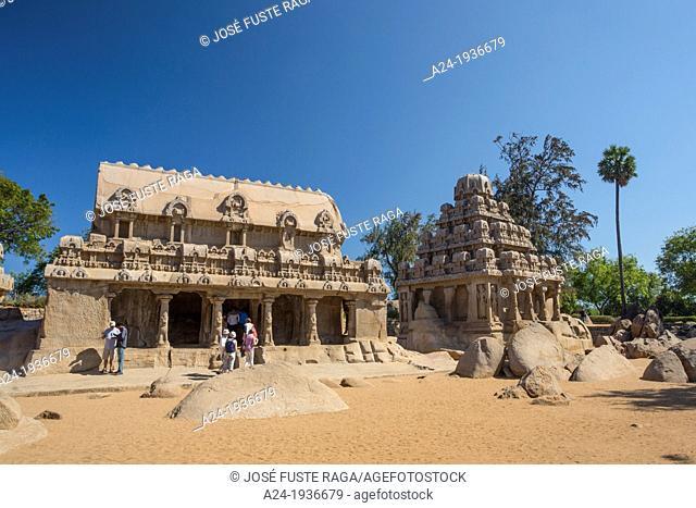 India , Tamiol Nadu State , Mamallapuram City, Five Rathas (W.H.)