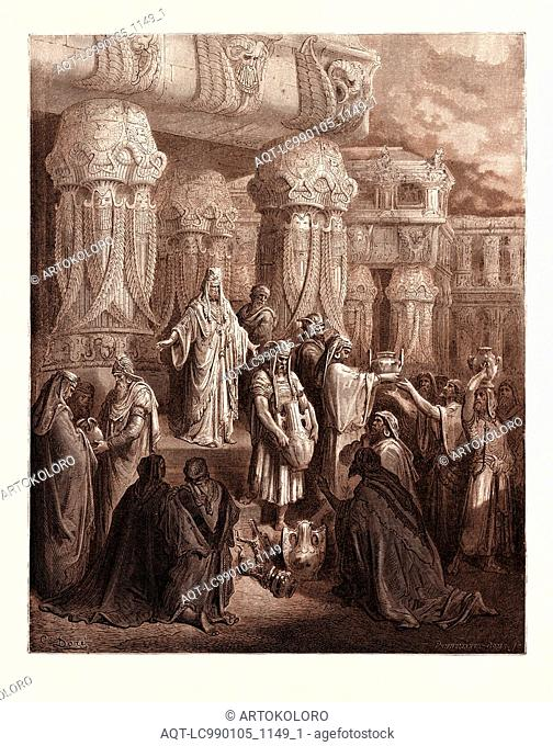 CYRUS RESTORING THE VESSELS OF THE TEMPLE, BY GUSTAVE DORÉ. Dore, 1832 - 1883, French. Engraving for the Bible. 1870, Art, Artist, holy book, religion