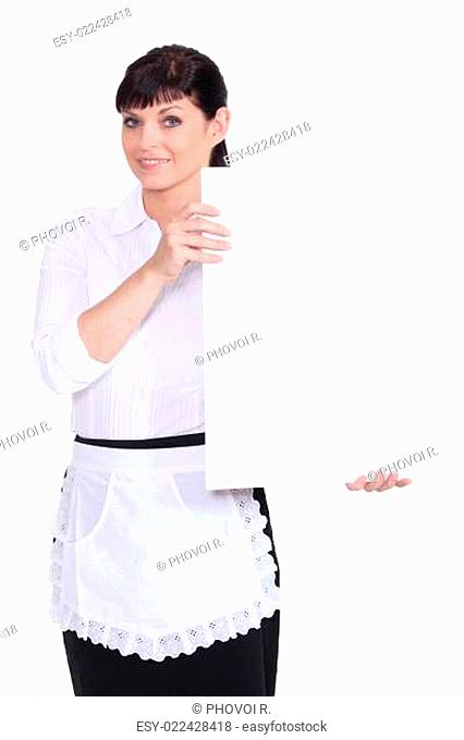 Waitress holding up a blank sign