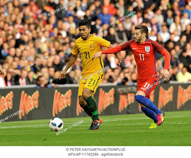 2016 International Football Friendly England v Australia May 27th. 27.05.2016. Stadium of Light, Sunderland, England. International Friendly