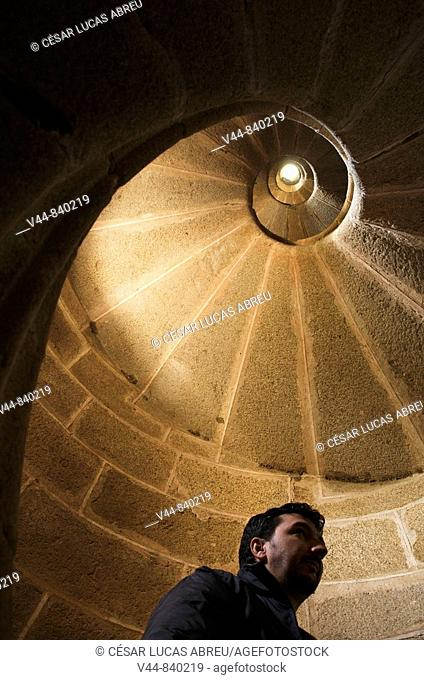 Spiral staircase of San Gil in the convent of San Benito, Alcantara. Caceres province, Extremadura, Spain