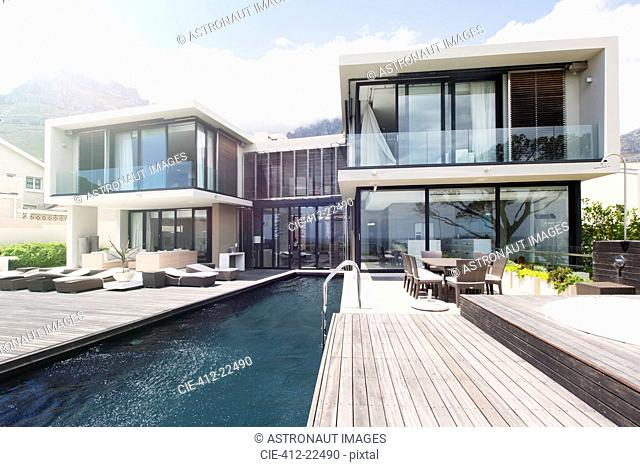 Modern house with large patio and swimming pool