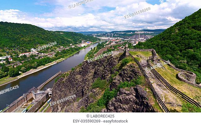Castle Strekov in valley of river Labe in Usti nad Labem city