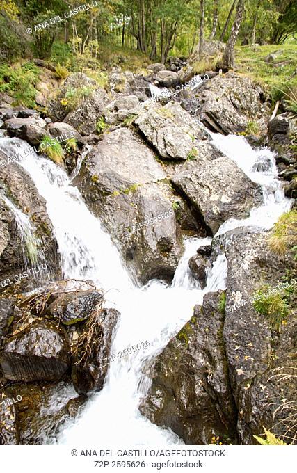 Andorra landscape. Cascade in El Serrat Pyrenees mountains