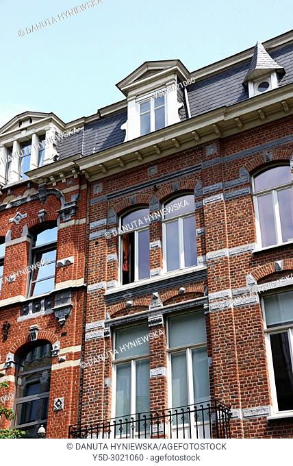 characteristic typical residential architecture in European district, Brussels, Belgium, Europe