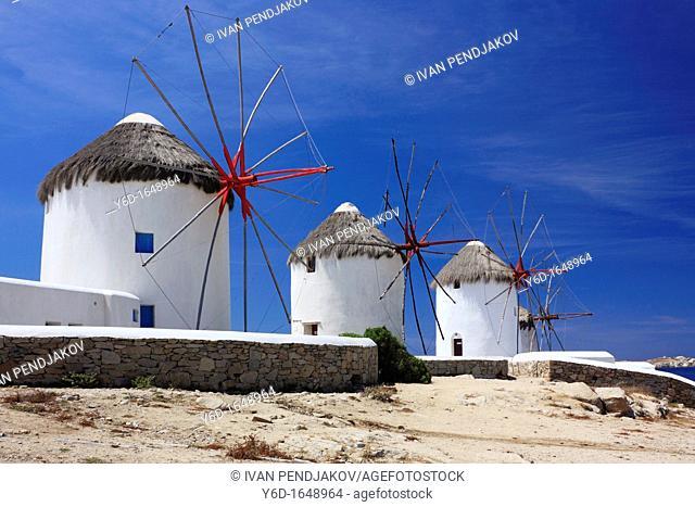 Windmills, Mykonos Town, Mykonos, Cyclades, Greece