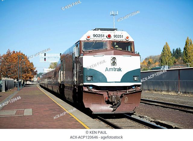 Amtrak Cascades train stopped at the station in Centralia, Washington, USA