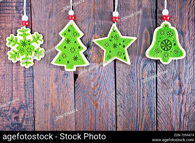 christmas decoration for tree on wooden table