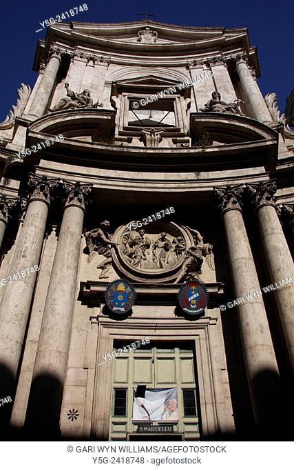 san marcello al corso church on via del corso street in rome italy