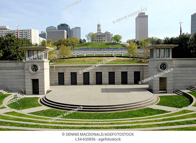 Skyline of Nashville and State Capitol from Tennessee Bicentennial Capitol Mall State Park. Nashville. Tennessee. USA