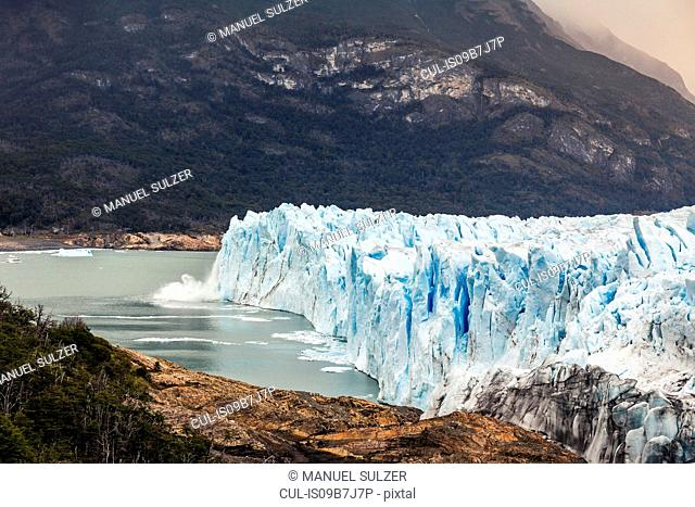 Side view of Perito Moreno Glacier and lake Argentino, Los Glaciares National Park, Patagonia, Chile