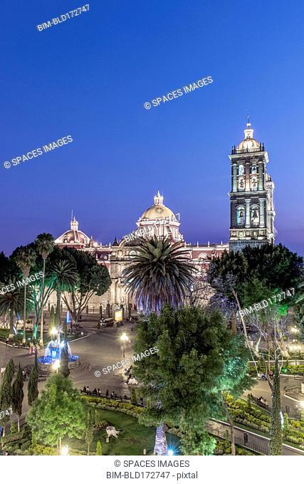Puebla Cathedral illuminated at night, Puebla, Puebla, Mexico