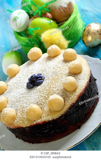 English Easter cake with marzipan