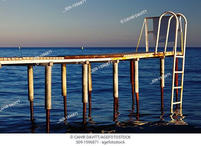 Remains of diving platform / Jetty, Nice beach, Saint-Philippe, Nice, Provence Alpes Cote d'Azur, France