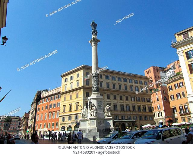 Column of the Immaculate Conception, Piazza Mignanelli, Piazza di Spagna, Rome, Italy