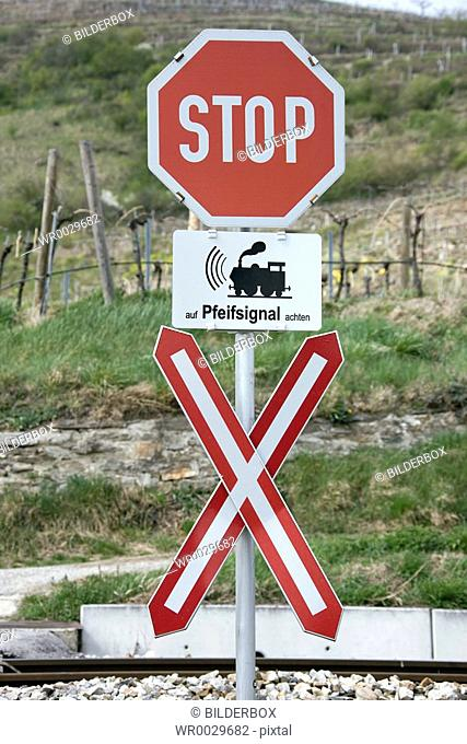Stop sign at level crossing without barriers
