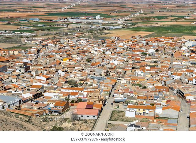 Aerial view, Town of Consuegra in the province of Toledo, Spain