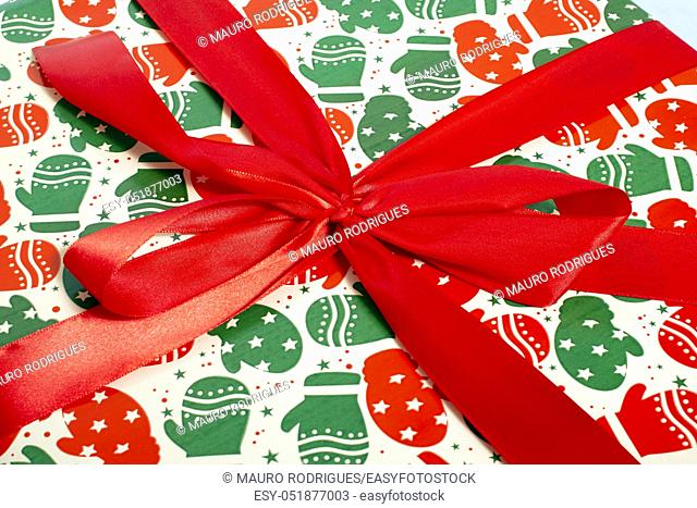 Beatifully wrapped christmas present close up