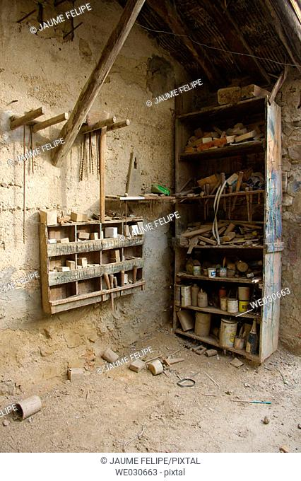 Old abandoned carpenter's workshop. Huesca, Aragón, Spain