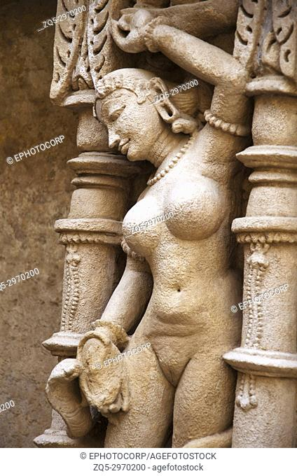 Vishkanya sculpture, inner wall of Rani ki vav, an intricately constructed stepwell on the banks of Saraswati River. Memorial to an 11th century AD King Bhimdev...