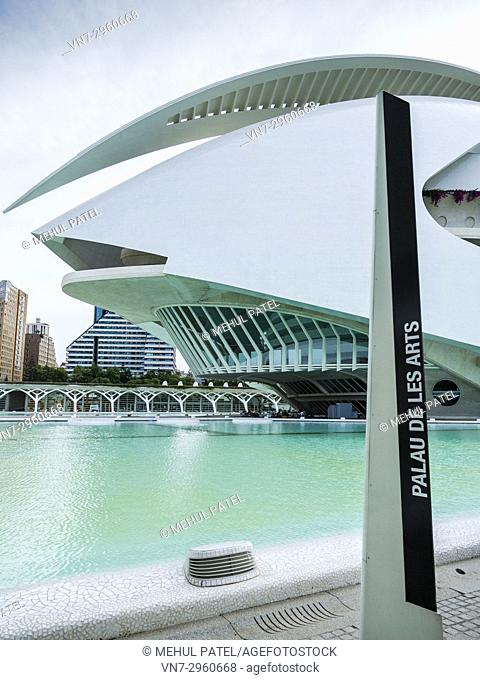 Side view of the Palau de les Arts in City of Arts and Sciences complex, Valencia, Spain. The Palau de les Arts designed by local architect Santiago Calatrava