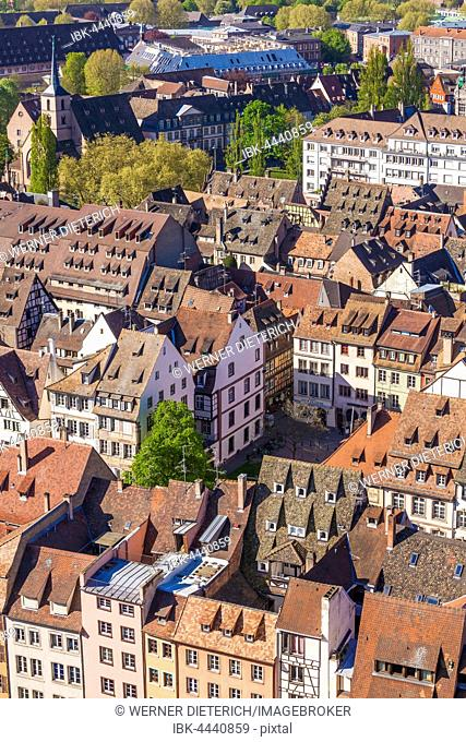 View over the rooftops of the historic center, Strasbourg, Alsace, France