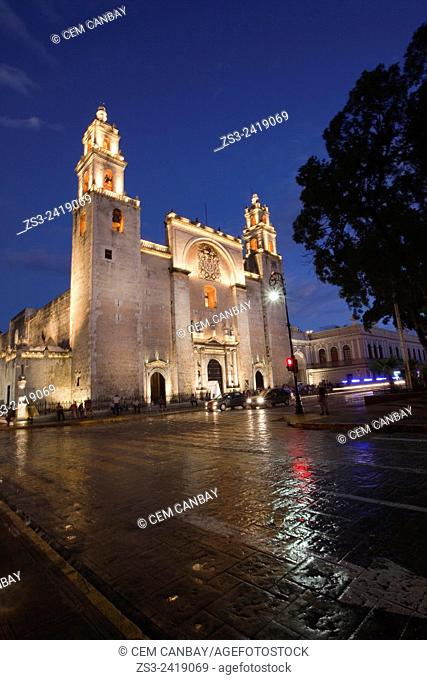Catedral de San Idelfonso. S. XVI. -Cathedral of San Idelfonso by night, Merida, Yucatan Province, Mexico, Central America