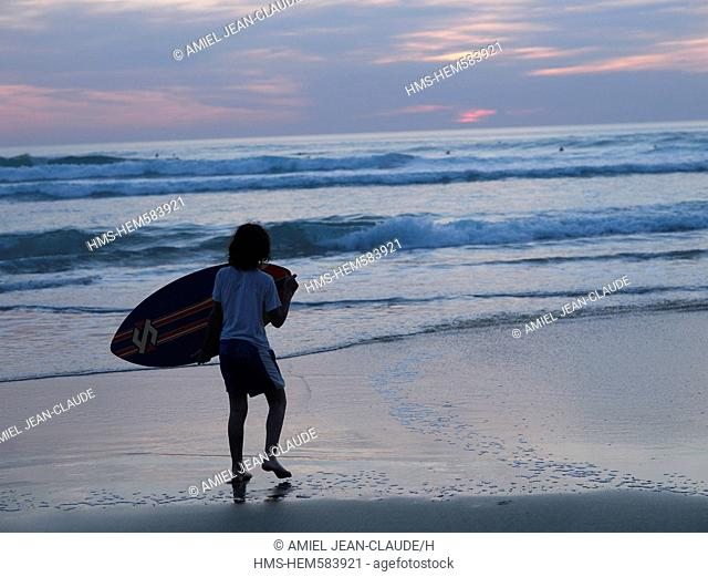 France, the French Basque Coast, Biarritz, feature: Arnaud Daguin's coverage of the Basque country, surfer on the beach
