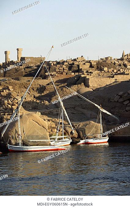 Felouques lying on the Nile close to the granite rocks and the ruins of the Elephantine Island