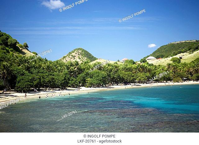 Aerial view of the beach, Plage de Pont Pierre, Les Saintes Islands, Guadeloupe, Caribbean Sea, America