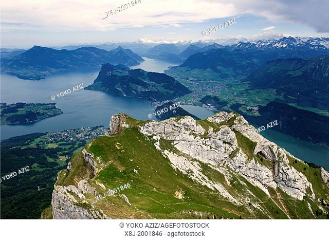Switzerland, Lucerne canton, Lucerne lake, view from Pilatus