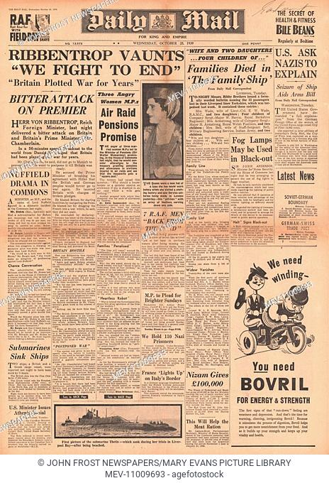 1939 Daily Mail front page reporting German Foreign Minister Joachim von Ribbentrop attacks Britain in a speech made in Danzig
