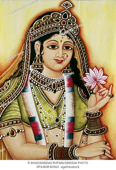 Goddess Radha Miniature Painting on Ivory