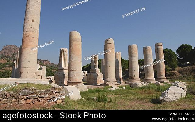 Close across to the columns of the temple of Artemis, Sardis archaeological site, Hermus valley, Turkey