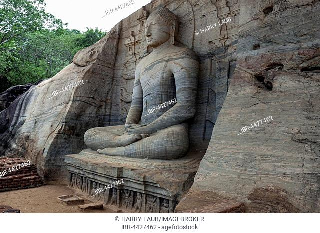 Seated Buddha, Gal Vihara, Sacred City, Polonnaruwa, North Central Province, Sri Lanka