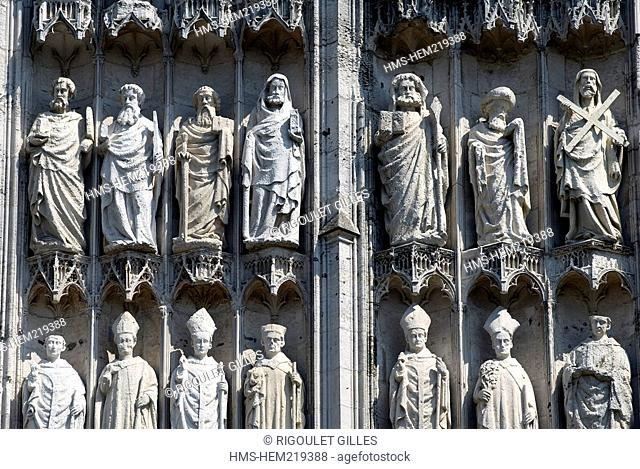 France, Seine Maritime, Rouen, facade of Notre Dame Cathedral