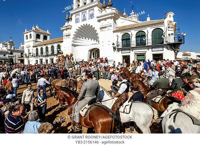 The Hermandades Pass By The Sanctuario de Nuestra Señora de El Rocío; El Rocio Festival, El Rocio, Andalusia, Spain