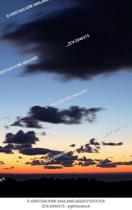 Beautyful skies after sunset over the Baltic Sea. Scandinavia