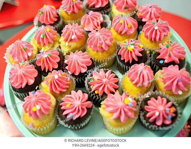 A display of cupcakes in La Marqueta in East Harlem in New York