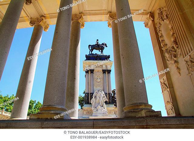 Alfonso XII monument Madrid in Retiro park near lake