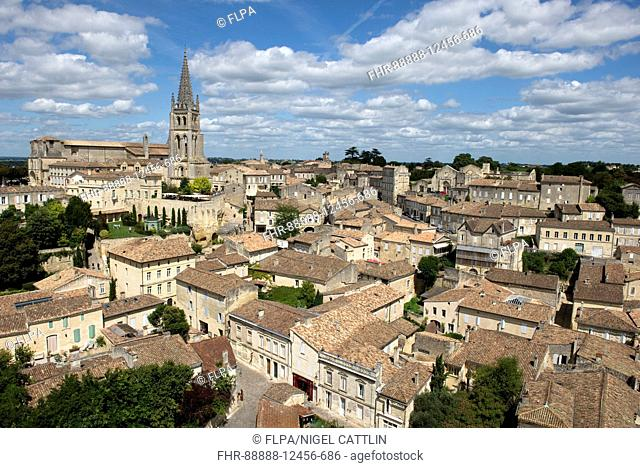 View from the Tour du Roi of Saint-Emilion town a World heritage site, Bordeaux Region, France, August