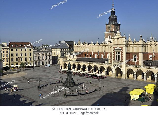 Adam Mickiewicz Monument, the Cloth Hall (Sukiennice) and Town Hall Tower on Rynek Glowny, the main square of the Old Town of Krakow