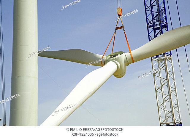 Windmill construction. Serra de Vilobí, Lleida, Catalonia, Spain