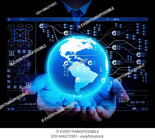 Blockchain technology concept with diagram of chain and encrypted blocks.businessman holding a glowing earth globe in his hands