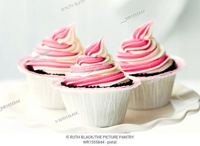 Raspberry ripple cupcakes on a cakestand