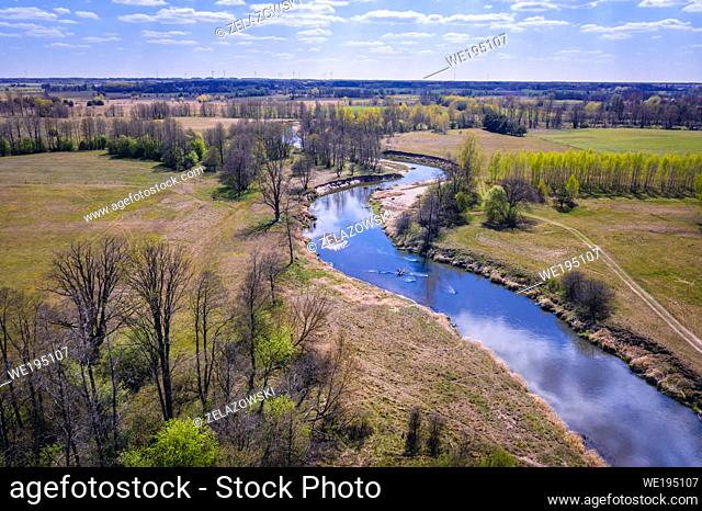 Liwiec River near Wolka Paplinska in the administrative district of Gmina Lochow, within Wegrow County, Poland