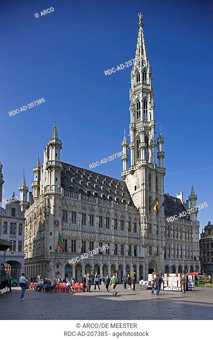 Town hall, Grote Markt, city hall square, old town, Brussels, Belgium, Grand-Place, Het Stadhuis, Hotel de Ville