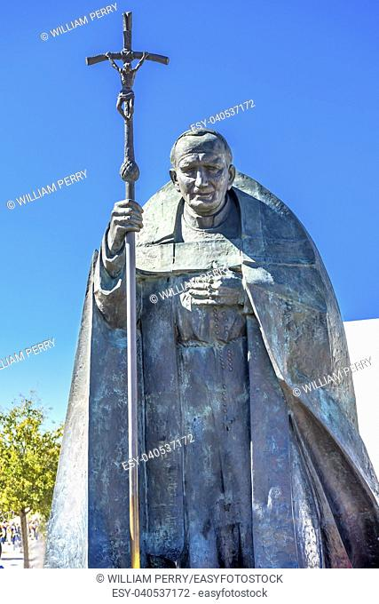 Pope John Paul II Statue Basilica of Lady of Rosary Fatima Portugal. Great pope, who believe in Fatima. Statue created in 2008 by Polish Sculptor Czeslaw...