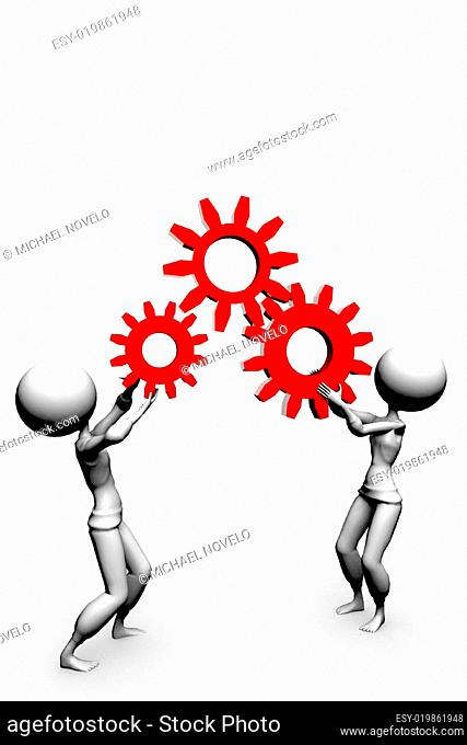 two 3d humans keep gears in hand